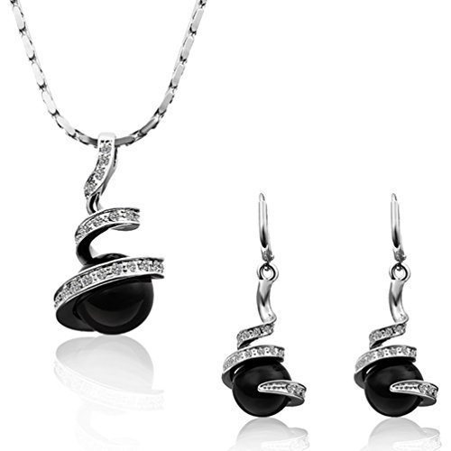 Lefinis White Gold Plated Crystal Black Pearl Jewelry Sets Necklace Earrings Set Black Jewelry Set