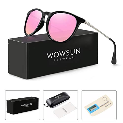 WOWSUN Polarized Sunglasses Women Vintage Retro Round Mirrored Lens Black Purple -