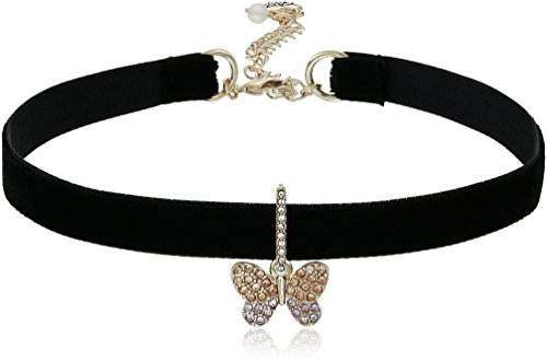 Betsey Johnson Pave Butterfly Charm Black Choker Necklace ()