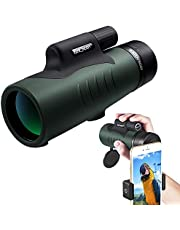 Monocular Telescope, K&F Concept 12X50 BAK4 Prism Waterproof Monocular and Smartphone Adapter Kit Low Light Night Vision for Bird Watching, Hunting, Camping,Travelling and Concerts with Carrying Bag