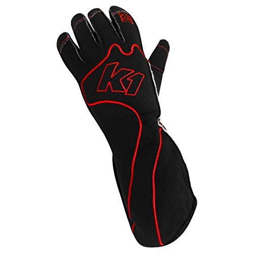 K1 Race Gear RS1 Reverse Stitch Kart Racing Gloves (Red/Black, Large) ()