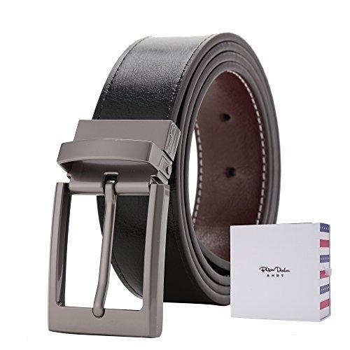 BISON DENIM Men's Top Grain Leather Reversible Belt - Classic Fashion Designs Brown 110CM
