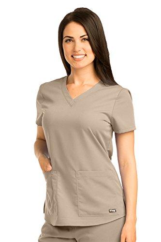 New Womens Ladies Khaki - Grey's Anatomy 71166 V-Neck Top New Khaki 2XL