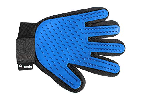 Huxie Pet Grooming Glove - Gentle Brush for Cats and Dogs to Reduce Shedding – Great Gift for Pet Lovers - Perfect for Short and Long Haired Pets – Comfortable Five Finger Mitt