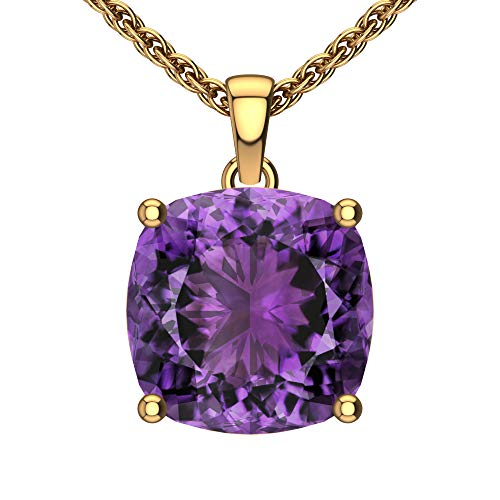 Belinda Jewelz Womens 14k Yellow Gold Cushion Shape Cut Gemstone Rhodium Plated Sparkling Prong Real Sterling Silver Fine Jewelry Classic Chain Hanging Pendant Necklace, 3 Ct Amethyst Purple, 18 inch