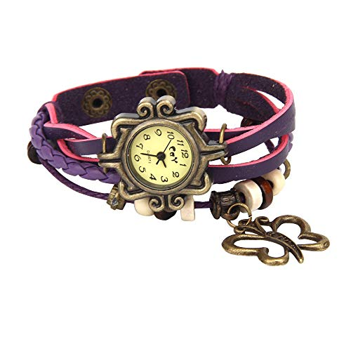 SMALLE ◕‿◕ HOT Fashion Watch,Butterfly Chain Weave Around Leather Fancy Dial Vintage Bracelet Lady Woman Wrist Watch Purple