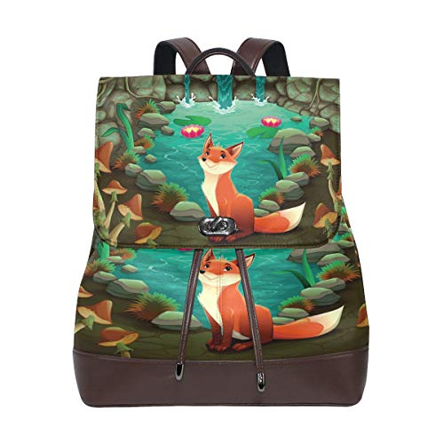 Forest Fox Cartoon Water Women's Genuine Leather Backpack Bookbag School Purse Shoulder Bag ()