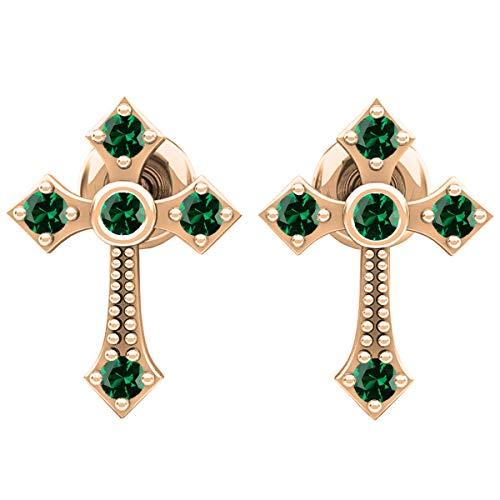 18K Round Lab Created Emerald Ladies Cross Drop Earrings, Rose Gold