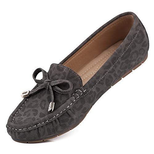 sorliva Comfort Suede Leather Moccasins Leopard Print Loafers Casual Flat Boat Shoes (8, Dark Gray) ()