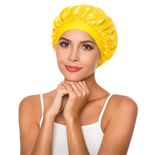 (Women's Wide Band Hair Bonnet Cap for Sleeping Head Cover Bonnet Night Sleep Hat (yellow))