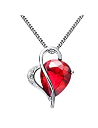 FLORAY Woman's Red Water-drop Shaped Created Ruby with Zircon Pendant Necklace,2 Claw Setting,Sterling Silver Chain. Free Blue Gift Box. Beautiful Gift for Boys or Girls.Chain Length:45cm