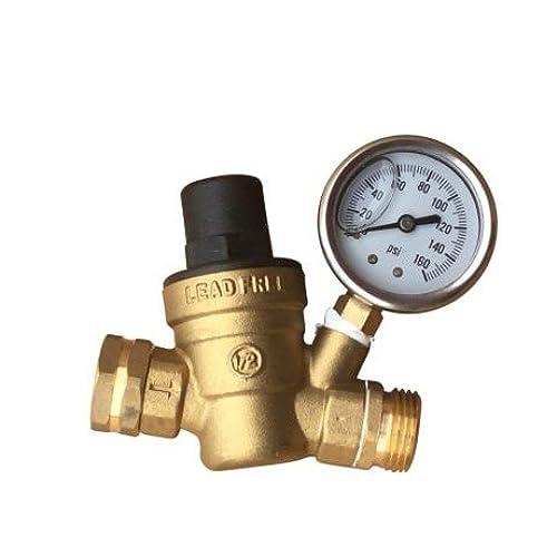 garden hose pressure regulator. Water Pressure Regulator. Brass Lead-free Adjustable Reducer For Rv With Guage. Includes Inlet Screened Filter. Model A01-1117tm Garden Hose Regulator \