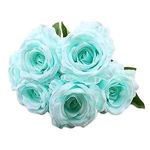 Molyveva 6 Head Artificial Anna Roses European Wedding Home Decoration Fake Flowers Bride Holding Bouquet Vintage Artificial Rose Silk Flowers Bouquet for Decoration 22