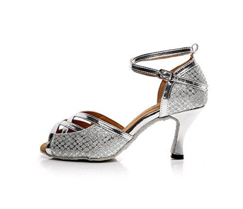 Ankle Dance Chip Dance Latin Shoes Shoes Leather Modern Sandals Flash BYLE Onecolor Samba Strap Show Shoes Silver Exercise Jazz Dance Shoe q0xEwOAP