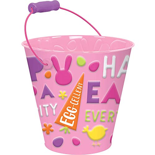 (Amscan Pink Happy Easter Metal Pail, Spring Decorations and Party Favors, Metal, 7