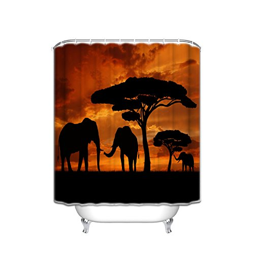 - Vandarllin Mother and Baby African Elephants Bathroom Shower Curtain, Sunset Safari Theme (66