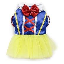 Pet Dog Snow White Disney Halloween Dress Costume Outfit Princess Clothes XS