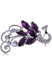 Alilang Silver Tone Purple Crystal Iridescent Colored Rhinestones Peacock Brooch Pin