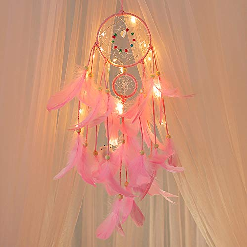 Dream Catcher, Creazy® Handmade Dreamcatcher Feathers Night Light Car Wall Hanging Room Home Decor (Pink)