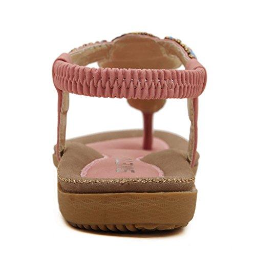 VogueZone009 Mujeres Cordón elástico Mini Tacón Sólido Sandalias y chanclas Rosa