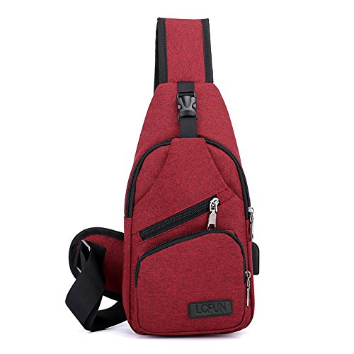 lcfun Canvas Sling Backpack Outdoor Sports Chest Bag Sling Backpack Lightweight with Charging Port for Men Women Boys Girls (Red)