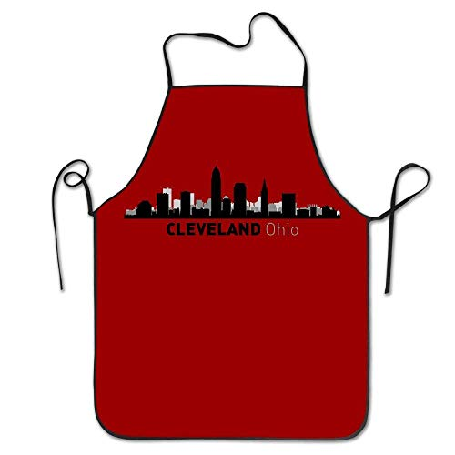 YALING Cleveland Ohio City Silhouette Skyline Waterproof Chef Funny Ultra Lightweight Aprons for $<!--$11.88-->