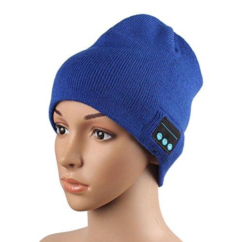GBSELL Warm Hat Wireless Bluetooth Smart Cap Headset Headphone Speaker Mic BK (Blue)