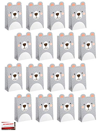 16 Pack Bears Bear Party Paper Loot Treat Candy Favor Bags (Plus Party Planning Checklist by Mikes Super Store)