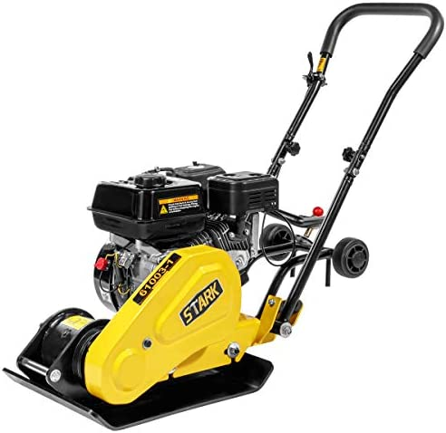 Stark Industry 6.5HP Walk Behind Plate Compactor Gas Vibration Compaction Force 2,360Lbs Force w Built-in Wheel