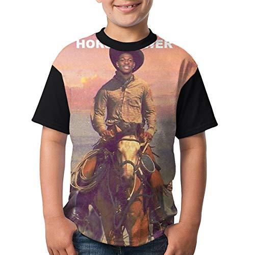 (LilNasX Shirt Short Sleeve Crew Neck T-Shirt, Youth Boys & Girls, L Black)