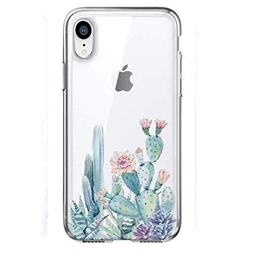 LUOLNH Compatible with iPhone XR Case,iPhone XR Case with Flowers, Slim Shockproof Clear Floral Pattern Soft Flexible TPU Back Cover case for iPhone XR 6.1 inch (2018) -Cactus - Snap Floral Designs