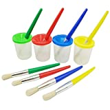 Smallones 4 Pieces Spill Proof Paint Cups and Paint Brushes for Kids Assorted Colored Children's Paintbrushes