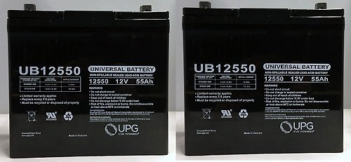 Pride BATLIQ1018 12V 55Ah Sealed AGM Battery Group 22NF - 2 Pack by Universal Power Group