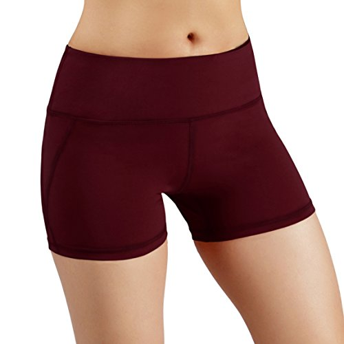 ODODOS Power Flex Yoga Short Tummy Control Workout Running Athletic Non See-Through Yoga Shorts with Hidden Pocket,Wine,Small
