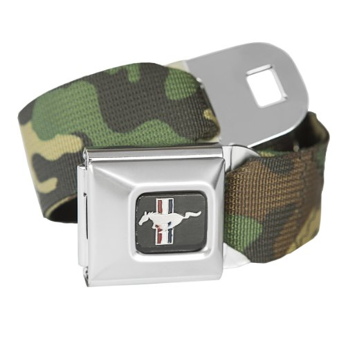 Seat Mustang Belt Ford Belt (Camouflage Ford Mustang Seatbelt Buckle Fashion Belt - Officially Licensed)
