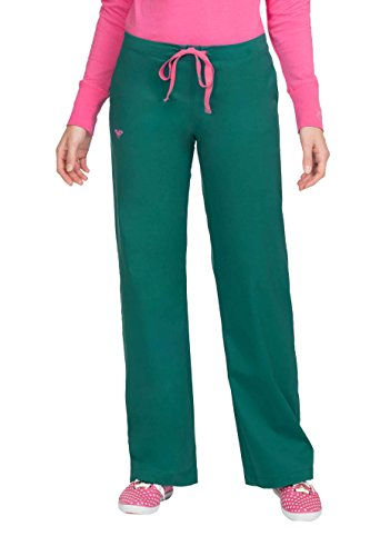 Med Couture Drawstring Signature Scrub Pants for Women, New Navy/Spearmint, Medium