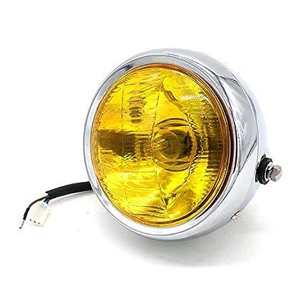 Moto Modifi/ée R/étro Phares Halog/ènes Phares Pour Harley Chopper Bobber Custom Cruiser CG125 GN125 CB CL Chrome + lentille transparente