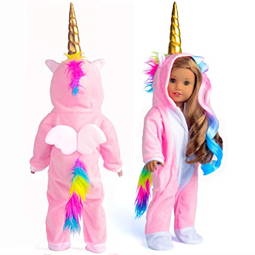 sweet dolly Doll Clothes Unicorn Doll Costume Onesie Pajamas with Hair Bows fits 18 Inch American Girl Doll