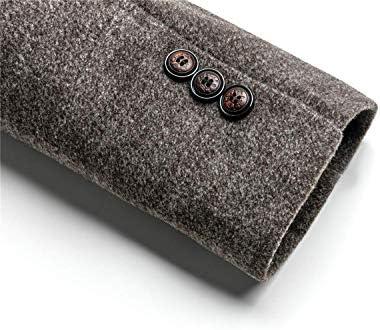 WULFUL Gabardina de lana para hombres Abrigo de guisante ajustado de invierno con bufanda a cuadros extraíble gratis