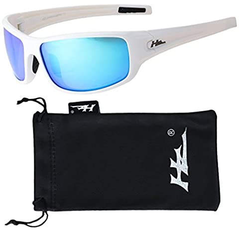 HZ Series Arkana - Premium Polarized Sunglasses by Hornz – Gloss White Frame – Blue Ice Mirror Lens