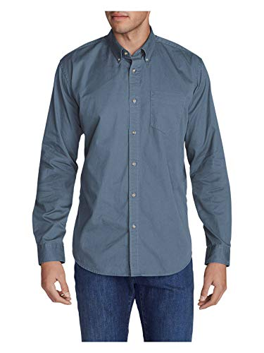 Eddie Bauer Men's Signature Twill Classic Fit Long-Sleeve Shirt - Solid, - Solid Shirt Mens Twill