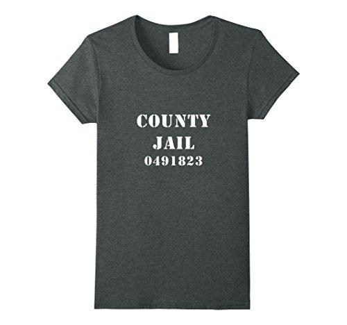 Jailhouse Costume Ideas (Womens County Jail T-Shirt Halloween Costume Tee Funny Prisoner Medium Dark Heather)