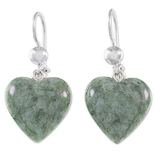 NOVICA Jade .925 Sterling Silver Dangle Earrings 'Mayan Heart in Green'