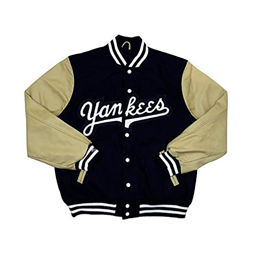 New York Yankees MLB Mitchell & Ness Navy Blue Authentic Wool Leather Vintage Varsity Jacket Jacket For Men (Yankees Leather Jacket)