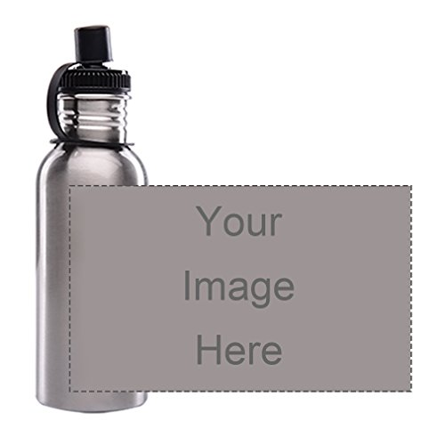 Custom Personalized Silver Sports Bottle 600ML Sport Water Bottle Customizable Holiday Gift or Birthday Present Customize Text or (Personalized Water Bottles No Minimum)