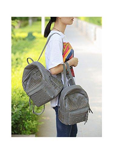 5df85bfbedd3 Amazon.com  Ladies Women PU Leather Backpack Rivet Studded Cute Satchel  School Bags (Grey L)  YUMI INC