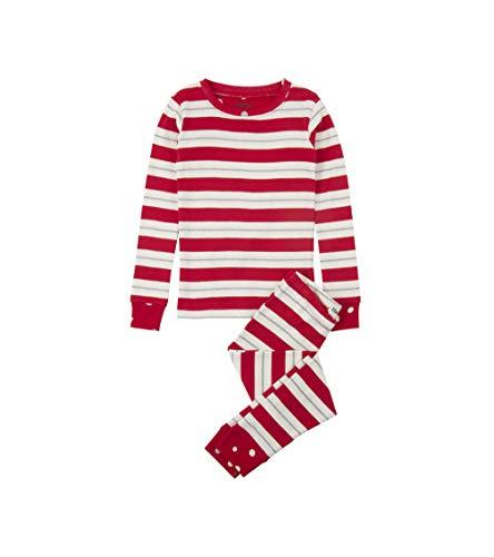 (Hatley Girls' Little Organic Cotton Long Sleeve Printed Pajama Sets, Metallic Striped 5)
