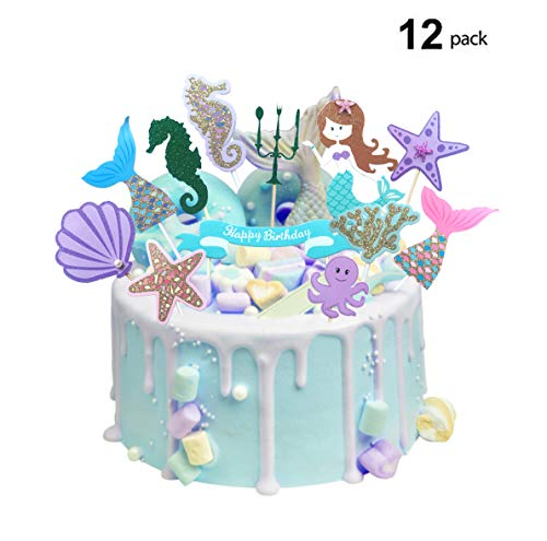 12Pcs Glitter Mermaid Theme Cake Toppers,birthday Party or baby shower Food Picks Cupcake Decor And Cupcake Party