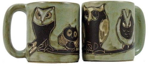 One (1) MARA STONEWARE COLLECTION - 16 Oz Coffee Cup Collectible Dinner Mug - Owl Bird Design