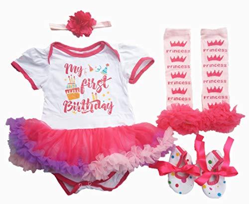 AISHIONY 4PCS Baby Girl Newborn 1st Crown Princess Birthday Tutu Outfit Dress XL -